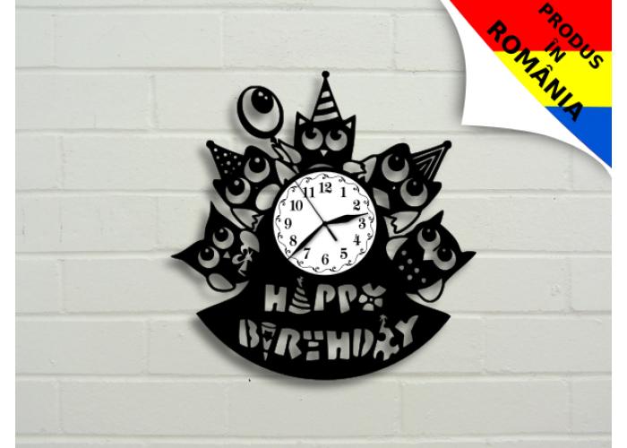 Ceas cadou cu bufnite - Happy Birthday